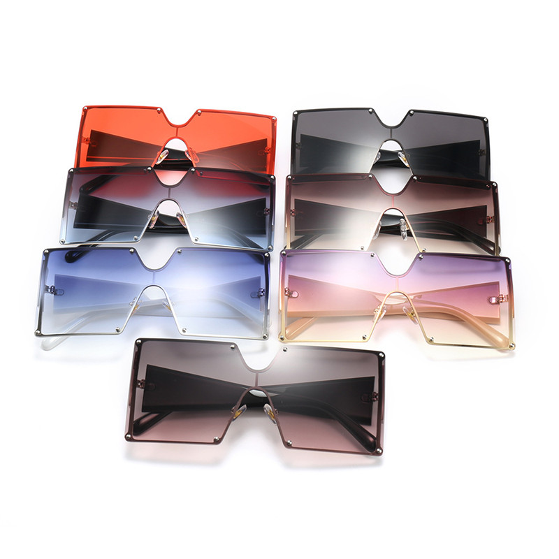 2019 Fashion Square Sunglasses Women Brand Designer Oversized Gradient Blue Black One Piece Sun Glasses New Style Shades UV400 4