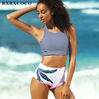 RXRXCOCO High Waist Bikini Set Sexy Padded Swimsuit Women Sport Bikini Summer Swimwear Female Beach Bathing