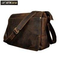 Crazy Horse кожа Мужская мода Повседневная сумка для ноутбука выходные на одно плечо дизайн сумка через плечо школьная книга Сумка 2088