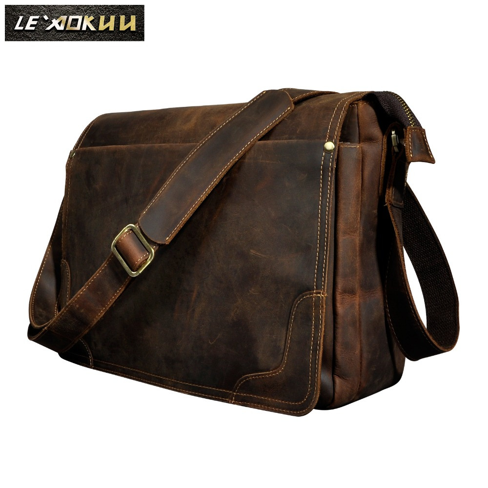 Crazy Horse Leather Men Fashion Casual Laptop Weekend One Shoulder Bag Design Messenger Crossbody Bag School Book Bag 2088