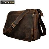 Crazy Horse Leather Men Fashion Casual Laptop Weekend One Shoulder Bag Design Messenger Crossbody Bag School Book Bag 2088