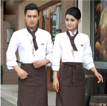2017 Chef Uniform Cotton Polyester Men Long Sleeves Hotel Chef Uniform Autumn and Winter Restaurant Bakery Kitchen Work.