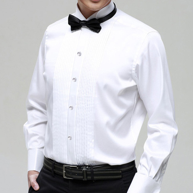 Male Stand Peaked Collar Short Long Sleeve Tuxedo Shirt