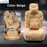 KKYSYELVA Winter Car Seat Cover Warm Automobiles Beige Grey Coffee Pink Seat Cushion Covers Interior Accessories