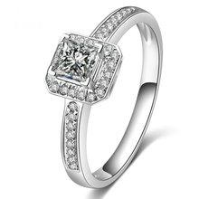 0.22+0.13ct Princess Cut Diamond Ring for Women 18K White Gold Handmade Wedding Engagement Jewelry