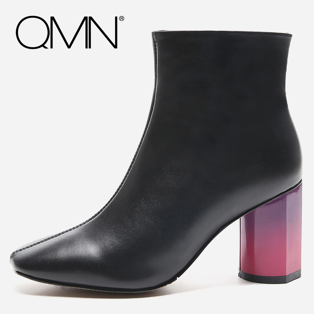 QMN women genuine leather ankle boots for Women Colorful Block Heel Fashion Boots Shoes Woman Square Toe Basic Boots Botas 34-39 qmn women crystal embellished natural suede brogue shoes women square toe platform oxfords shoes woman genuine leather flats