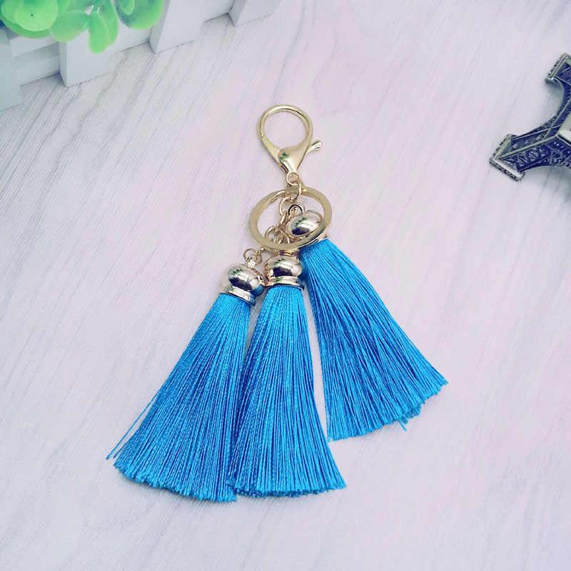 Nieuwe Kwastje Sleutelhanger vrouwen Leuke Kleurrijke fringe Sleutelhanger tas-3 dezelfde kleur Zijden Kwasten Auto sleutelhanger gift sieraden #17025