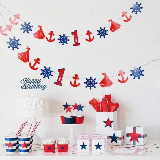 Nautical Birthday Banner Including 1 6 Digit Cutouts For 1st 2nd 3rd 4th 5th 6th Baby Boy Child Little Sailor Party In DIY Decorations From