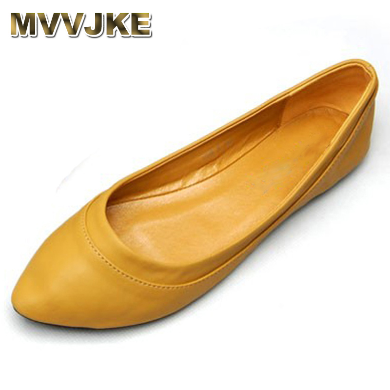 MVVJKE Fashion Soft PU Leather Woman Shallow Flats Comfort S