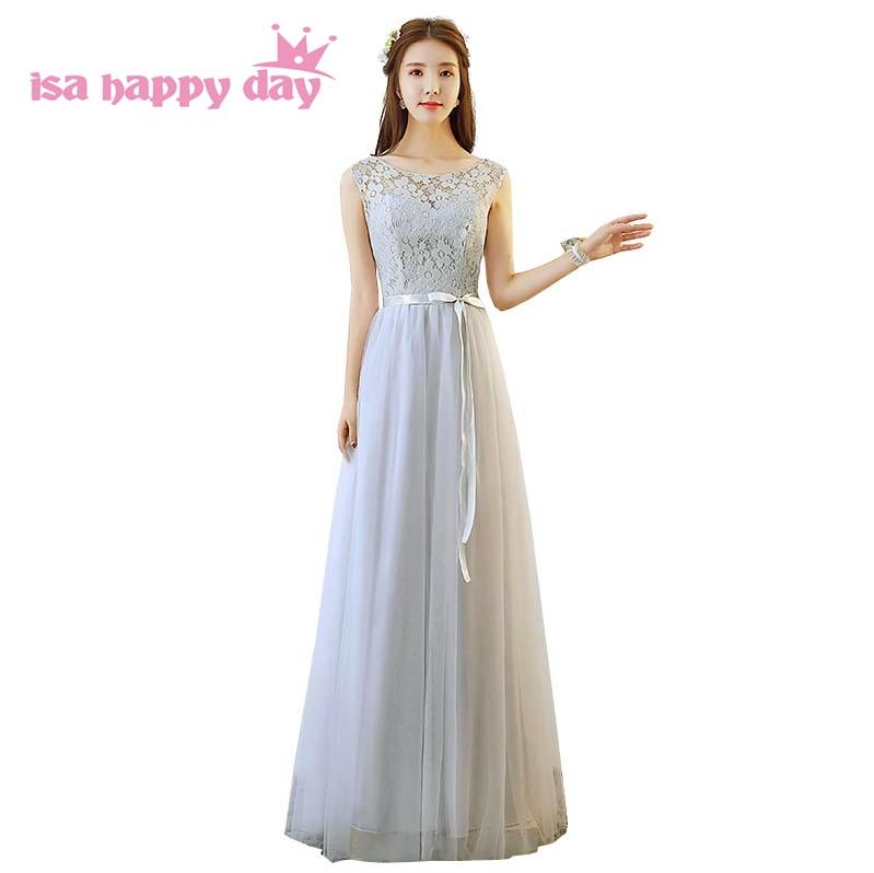 Gray Tulle Faironly Bridesmaid Long Bridemaid Dress Teen Party Puffi Girls Pretty Dresses Cheap 2019 Robe De Soiree H4189