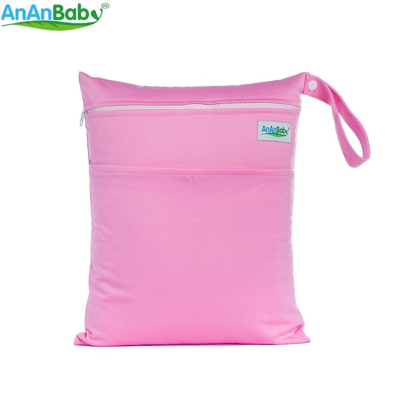 AnAnbaby 1ks Pevná voděodolná dětská plenka na brašny Pletenina na plenky Mokrá taška Obyčejná barva se zipovými kapsami