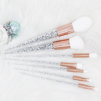 New 7pcs Sliver Diamond Unicorn Crystal Makeup Brushes Set Foundation Blending Powder Eye Face Brush Makeup Tool Kit maquillaje