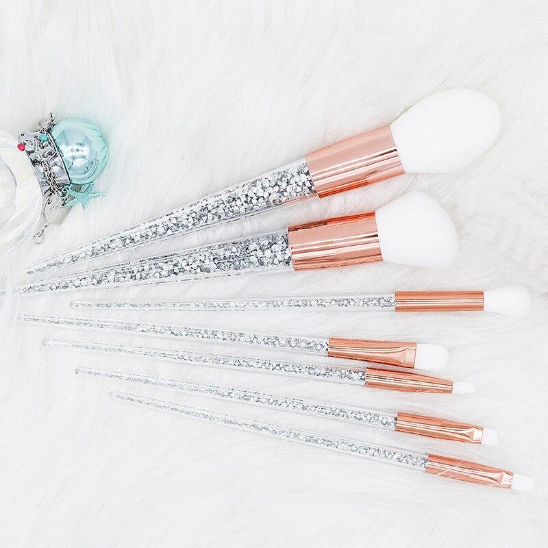 Conjunto de pinceles de maquillaje de cristal, nuevo conjunto de 7 Uds de pinceles de diamante de color plateado, mezcla de bases para maquillaje de ojos y cara, Kit de herramientas de maquillaje|rizador de pestañas|   - AliExpress