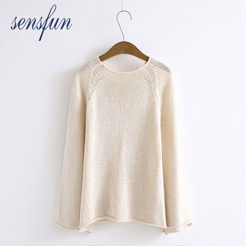 Sensfun 2018 O-Neck Ivory Sweater Women Knitted Sweaters And Pullovers Female Pull Femme Tops Jersey Solid Color Loose Style