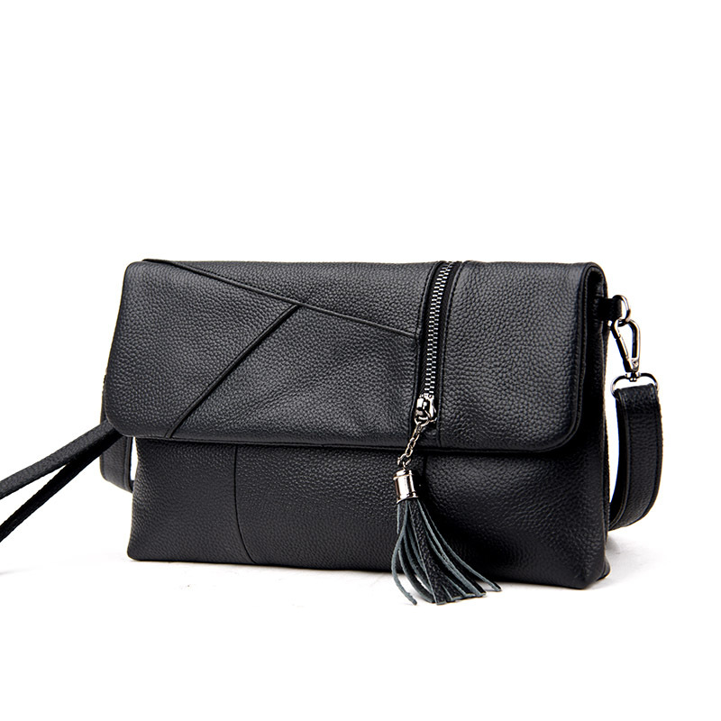 2017 New Fashion Genuine Leather Shoulder Bag for Women with Pockets Tassel Envelope Clutches Ladies Crossbody Messenger Bags 2017 new genuine leather tassel messenger bag women shoulder bag envelope women clutch bag small crossbody party bag black blue