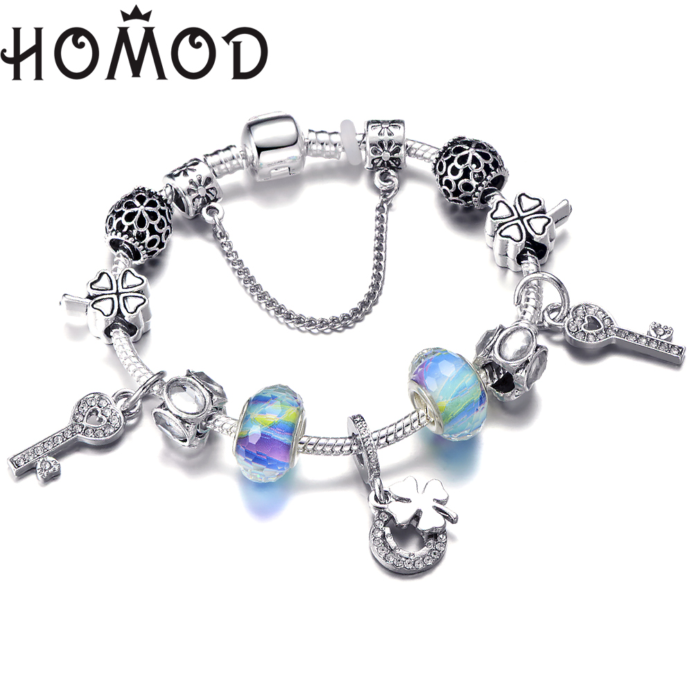 Silver Crystal Four Leaf Clover Brand Bracelet With Colorful Murano Round Beads Charm Bracelet Bangle For Women DIY Jewelry in Charm Bracelets from Jewelry Accessories