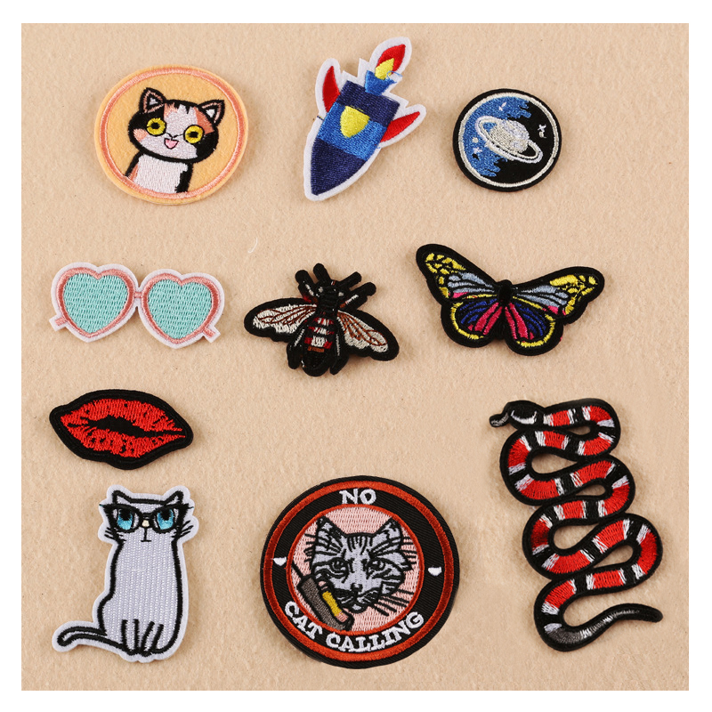 2017 New Cat Butterfly Bee Snake font b Sunglass b font Patches Iron On Or Sew
