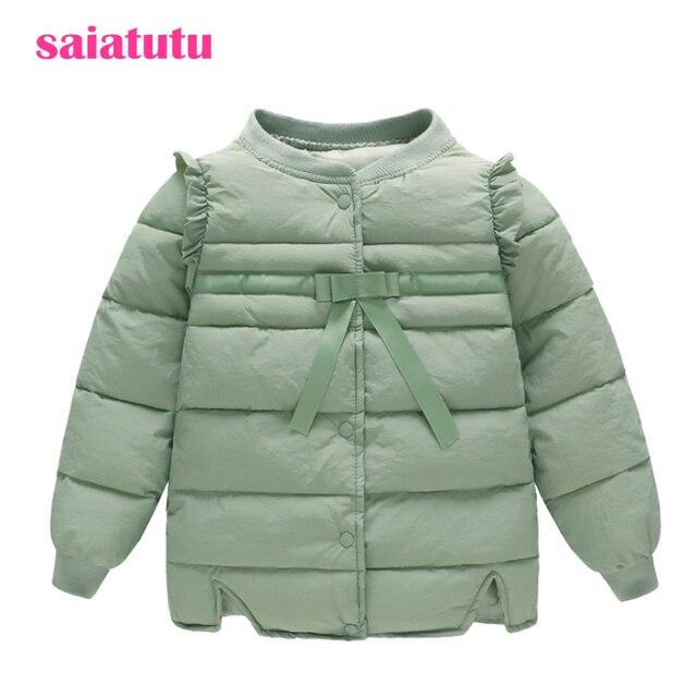 60c264fa7 Hierba verde manera coreana del bebé niños ropa de invierno abrigo chica  abrigos abajo chaqueta Parkas