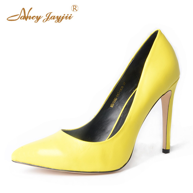 d7639e8ed135c 2018 Spring Summer Elegant Genuine Leather Ladise Nude Yellow Pumps Pointed  Toe Thin High Heel Women Normal Size 9 Dress Shoes