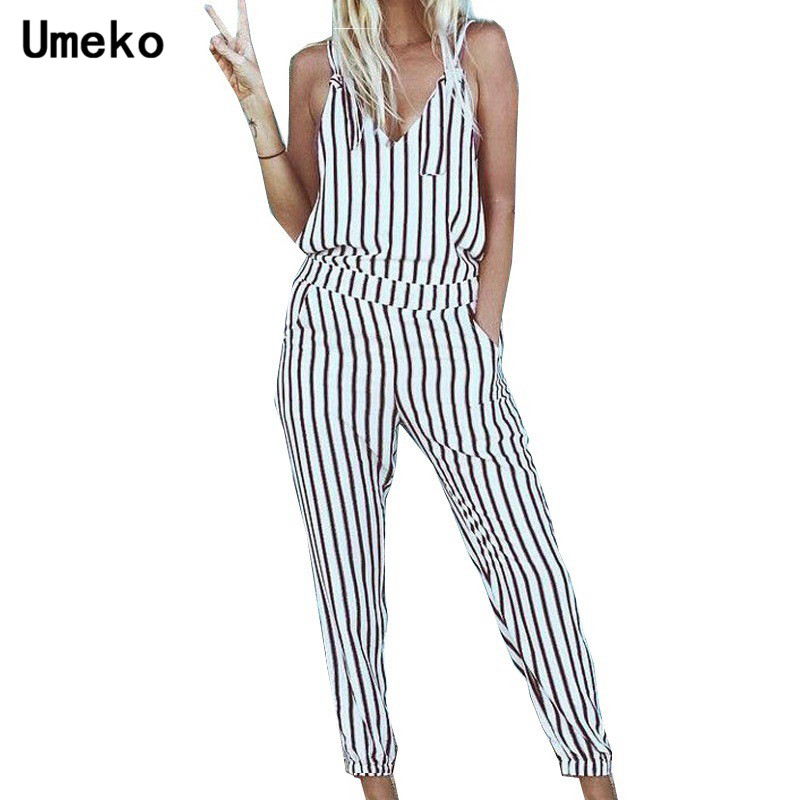 Umeko Summer Women Fringe Jumpsuit Sleeveless High Waist Romper V-neck Striped Jumpsuits Ladies Roupas Feminina Femme