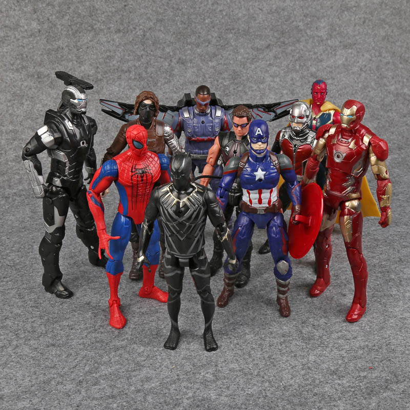 Captain America Civil War Avengers PVC Action Figures Iron Man Ant-Man Hawkeye Falcon Bucky Vision Spiderman War Machine 1 6 scale male head sculpts model toys downey jr iron man 3 captain america civil war tony with neck sets mk45 model collecti f