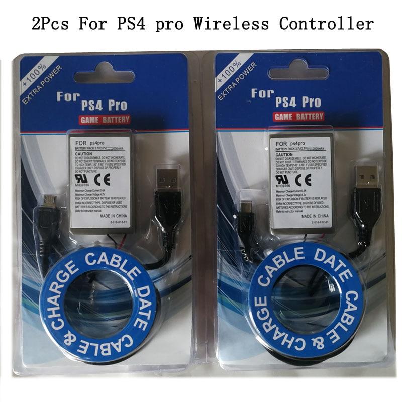 2 Pcs 2000 Mah Batterie + Usb Ladegerät Kabel Für Sony Ps4 Pro/ps4 Slim Wireless Controller Li-ion Lithium- Aufladbare Batterien Elegant Im Geruch