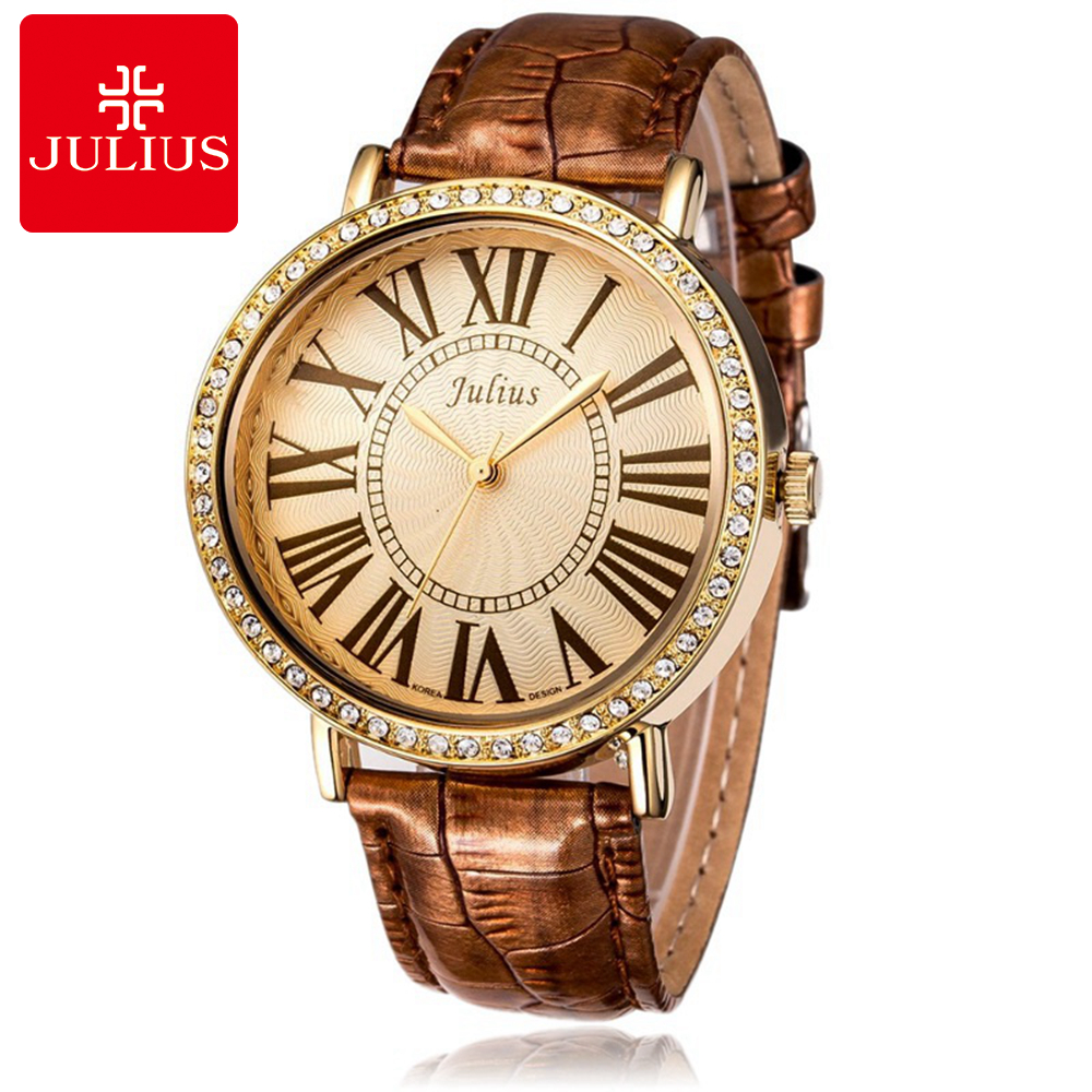 Women's Waterproof Wristwatches Women Dress Rhinestone Watches Fashion Casual Quartz Leather Watch Luxury Brand Julius 383 Clock games das speil der berufe a2 page 8