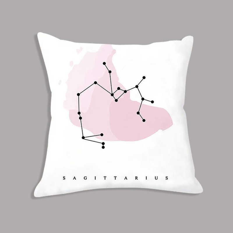 Двенадцать созвездий Плакаты зодиака знак Подушка на сиденье с принтом крышка Nordic белая наволочка 45x45 см диван украшения