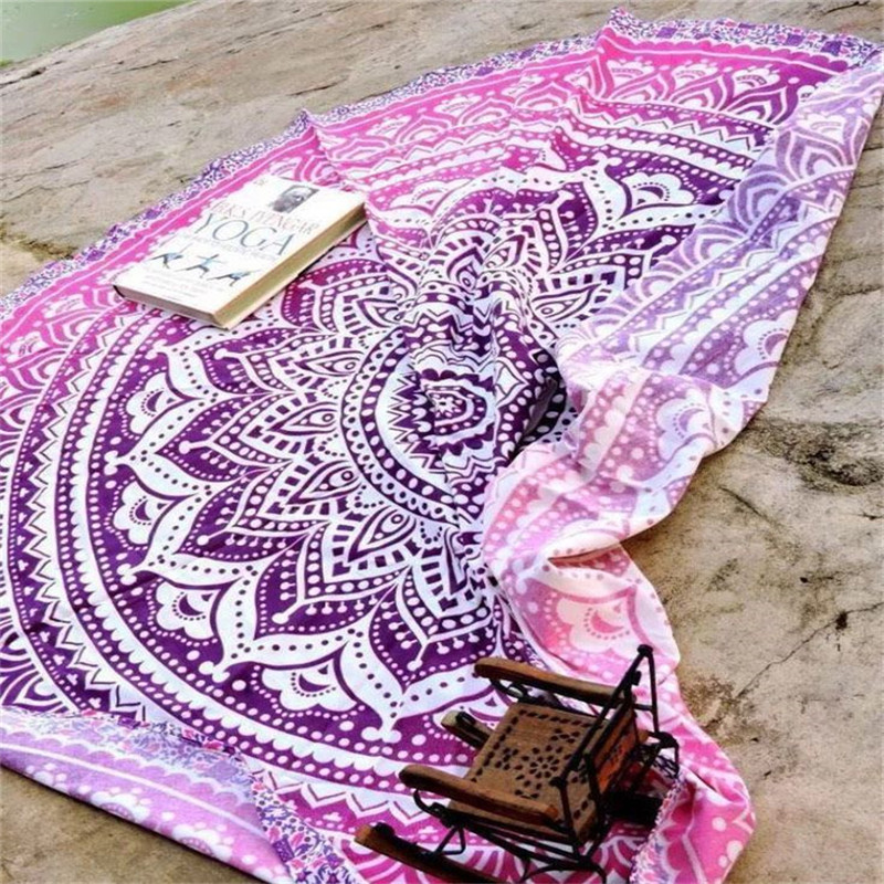 Wholesale Flower Print Beach Towels Rose Red Beach Serviette Round Floral Tapestry Adults Ethinic Style Swimming Towel FTBST