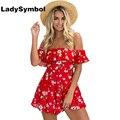Ladysymbol rojo colmena de la impresión floral del hombro de las mujeres de los mamelucos del mono del verano 2017 sexy playa corto casual general playsuit chica