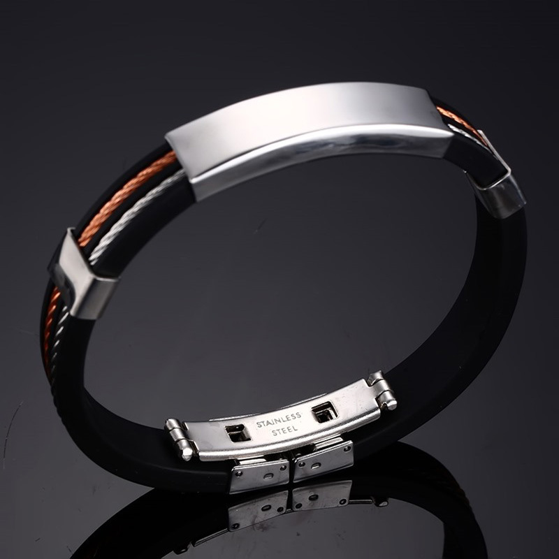 Mens Cable Wire Chain Silicone Bracelet with Stainless Steel ID Tag Customized Wristband Braslet Brackelts Male Jewelry