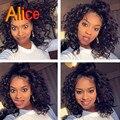 Alice Peluca de Encaje Frontal Con El Pelo Del Bebé Sin Cola Llena Del Cordón de la Virgen Profunda brasileña Rizado Upart Peluca Pelucas de Cabello Humano Para la Mujer Negro