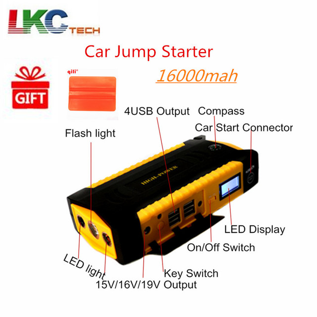 Russian Stock!  Emergency 16000mAh Car Jump Starter 600A 12V Starting Device Portable Power Bank Car Starter For Car Battery