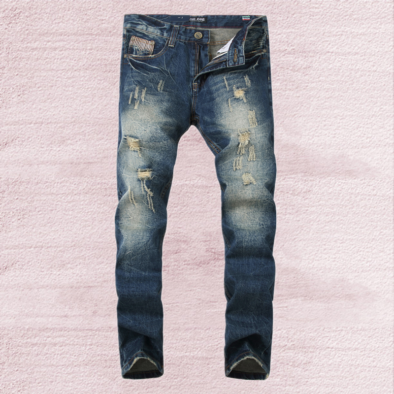 Ripped Jeans Men 2016 New Arrival Dsel Brand Clothing Blue Slim Straight Fit Quality Denim Trousers Plus Size Men`s Jeans SK01 patch jeans ripped trousers male slim straight denim blue jeans men high quality famous brand men s jeans dsel plus size 5704