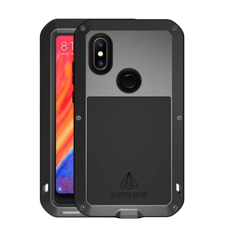 Heavy Duty Protection Case For Xiaomi MI MIX 2S Luxury Life Waterproof Metal Aluminum Bumper Tempered Glass Armor For MIX2 S