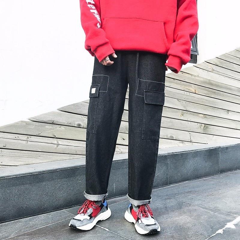 2018 Spring Newest Mens Fashion Retro Style Wide Leg Haren Pants Elastic Waist Loose Casual Black Color Jeans Trousers M-2XL