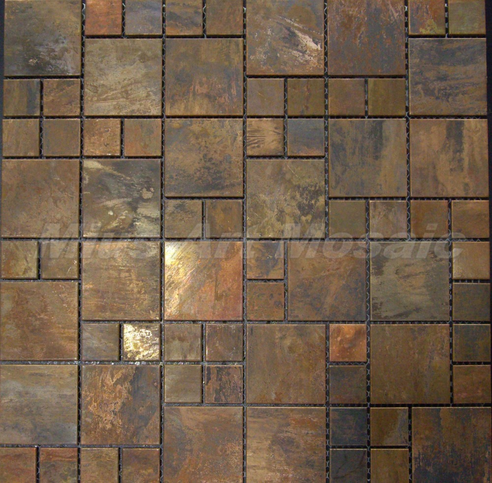 Copper Mosaic Tile With Antique Bronze Finish For