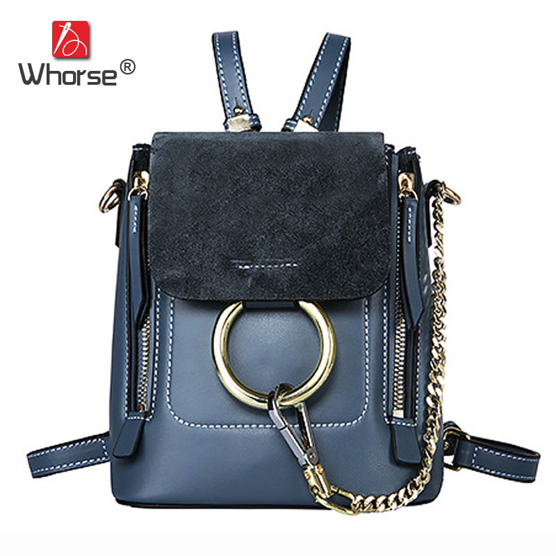 [WHORSE] Brand Fashion Genuine Leather Backpack Women Chain Backpacks Girls School Bags Cover Shoulder Women's Back Pack W08500 lady backpacks bags soft pu leather brand design women shoulder bags new girls students teenager school back pack daypacks totes