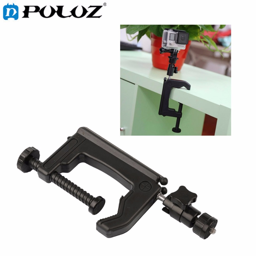 PULUZ For Go Pro Accessories Table Clamp Desktop Holder Mount +Tripod Adapter for GoPro HERO5 HERO4 Session HERO 5 4 3+ 3 SJ4000 usb powered flexible neck 10 led white light lamp blue 27cm