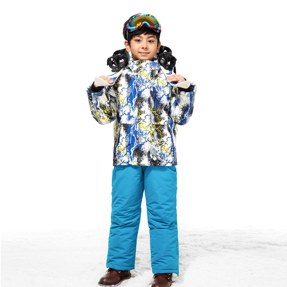 Children Boy Winter Warm and Thicken Clothing Set Teenager Ski Suit Windproof Outdoor Ski Jackets+Bib Pants 2pcs Set 110-160cm russian winter children ski suit windproof outdoor girls ski jackets bib pants 2pcs girls clothing set for 2 7 years