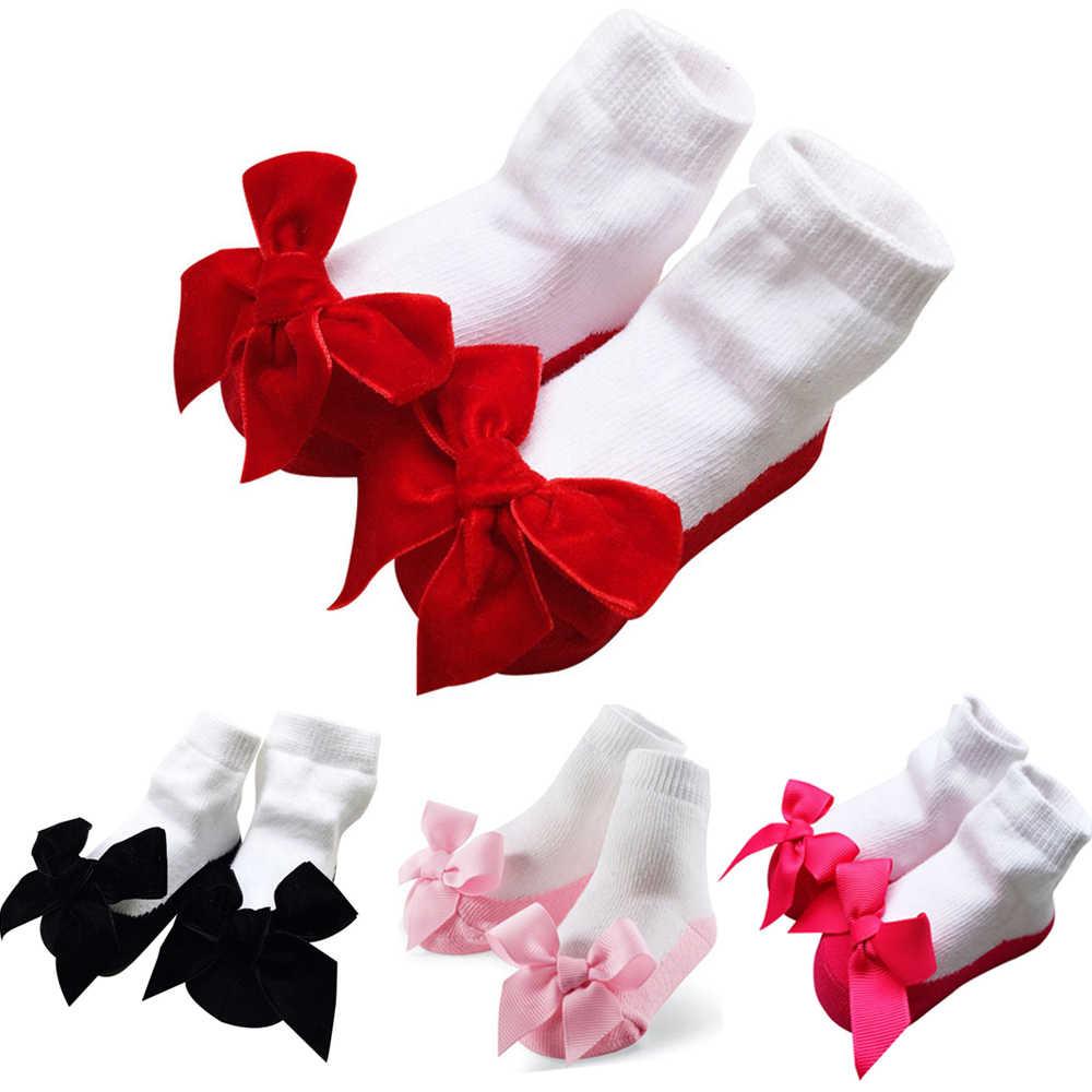 1 זוג 0-12 חודשים תינוקות תינוק כותנה רך נסיכת פרח Bowknot גרבי תינוק פרחוני נעלי חג יום הולדת מתנה