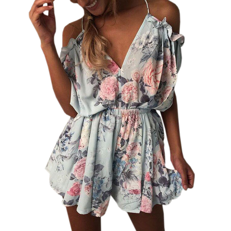 Floral printed Summer Playsuits Beach Women Jumpsuit Shorts Ruffles 2020 Boho Rompers Sexy V Neck Backless Casual Overalls GV643