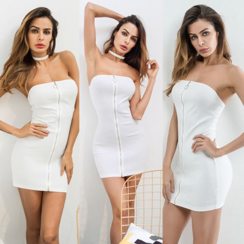 2018 New Clubwear Womens Sexy White Zipper Dress Sleeveless Bodycon Dress  Summer Bandeau Evening Party Short 199e74087ff08