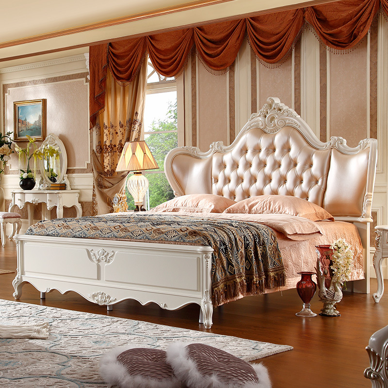 Full Size Classical Design French Upholstered Bed With Crystals Bed 180x200cm Baking Painting