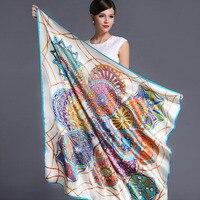 high quality 100% real silk satin Scarf Shawl wrap women female fashion big square Scarves pattern 105x105CM