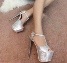 2016 spring and summer fine with ultra high heels 15cm high Hentian Dance T station nightclub hot drilling Women's shoes Sandals