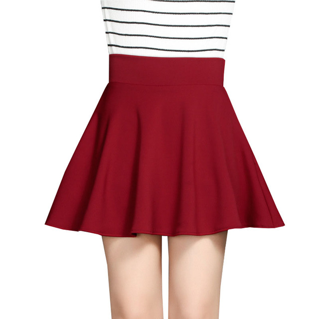 50b3eb3b9d0c5 2017 New Spring Summer High Waist Umbrella Skirts Fashion Women Skirt  Student Casual Solid Color Mini