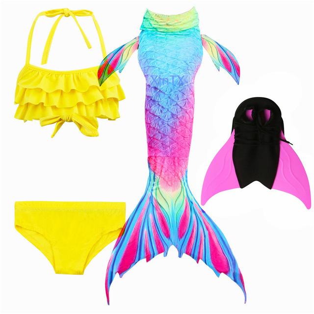 HOT Kids Mermaid Tail With Monofin Swimsuit Bikini Finned Swimsuit Child's Wear Split Swimsuit Mermaid Tail Clothing Swimwear