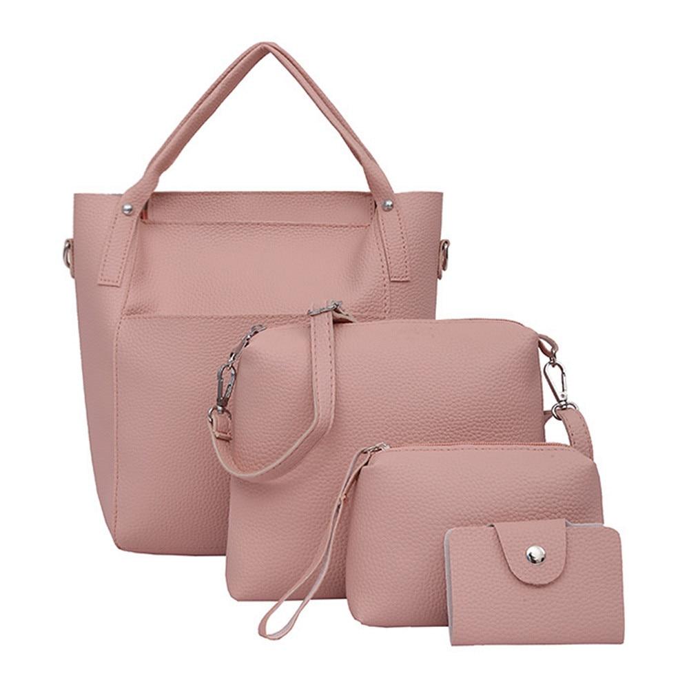 514fc31c08093 ... Outdoors Women's Handbags & Purses Large Capacity Shoulder Handbag Tote Messenger  Bags PU Leather Pockets Purse for Women Pure Colour Retro 2 Pieces Set