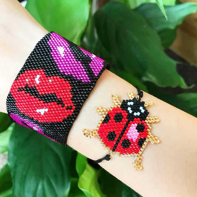 SHINUSBOHO Beetle Bracelets Bee Bracelets Fashion Insect Bracelet Men Miyuki Happy Bracelet for Women Delicas Charm Gifts Child